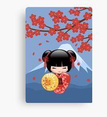 Japanese Red Sakura Kokeshi Doll Canvas Print
