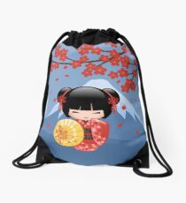 Japanese Red Sakura Kokeshi Doll Drawstring Bag