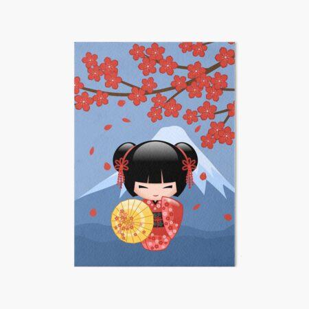 Japanese Red Sakura Kokeshi Doll Art Board Print