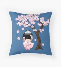 Japanese Bride Kokeshi Doll Throw Pillow