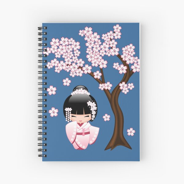 Japanese Bride Kokeshi Doll Spiral Notebook