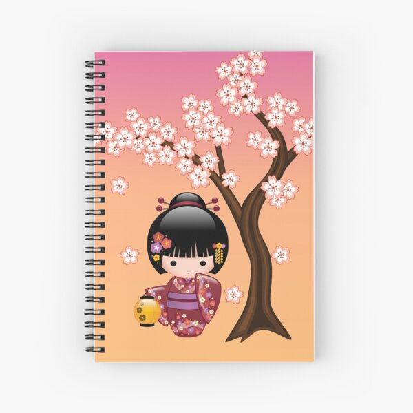 Japanese Sakura Kokeshi Doll Spiral Notebook