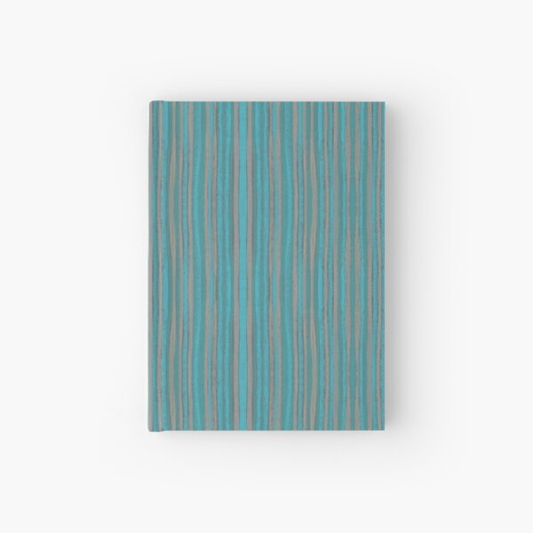 Grey Turquoise Narrow Stripe Striped Pattern Hardcover Journal