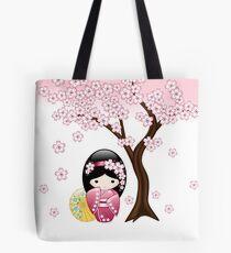 Japanese Spring Kokeshi Doll Tote Bag