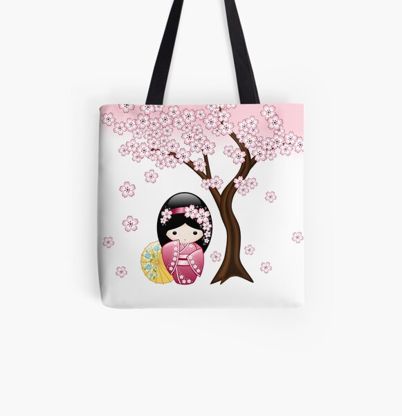 Japanese Spring Kokeshi Doll All Over Print Tote Bag