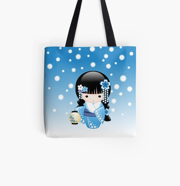 Japanese Winter Kokeshi Doll All Over Print Tote Bag