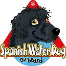 Spanish Water Dog On Board - Black by DoggyGraphics