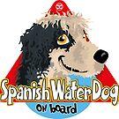 Spanish Water Dog On Board - B&W by DoggyGraphics