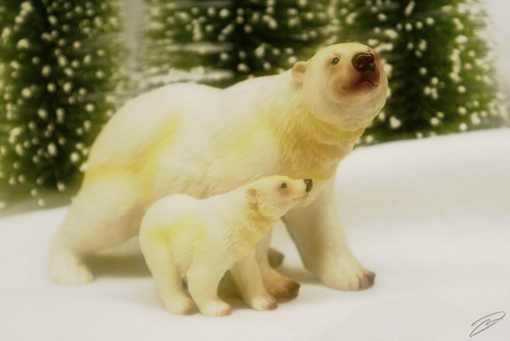 Polar Bear and Cub by David W Kirk