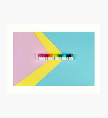 Glückliche kleine Regenbogenpillen Kunstdruck