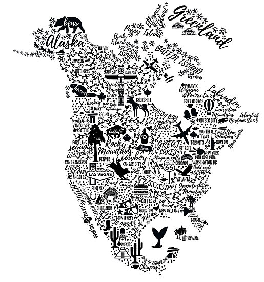 Typography poster. North America map. North America travel guide ...