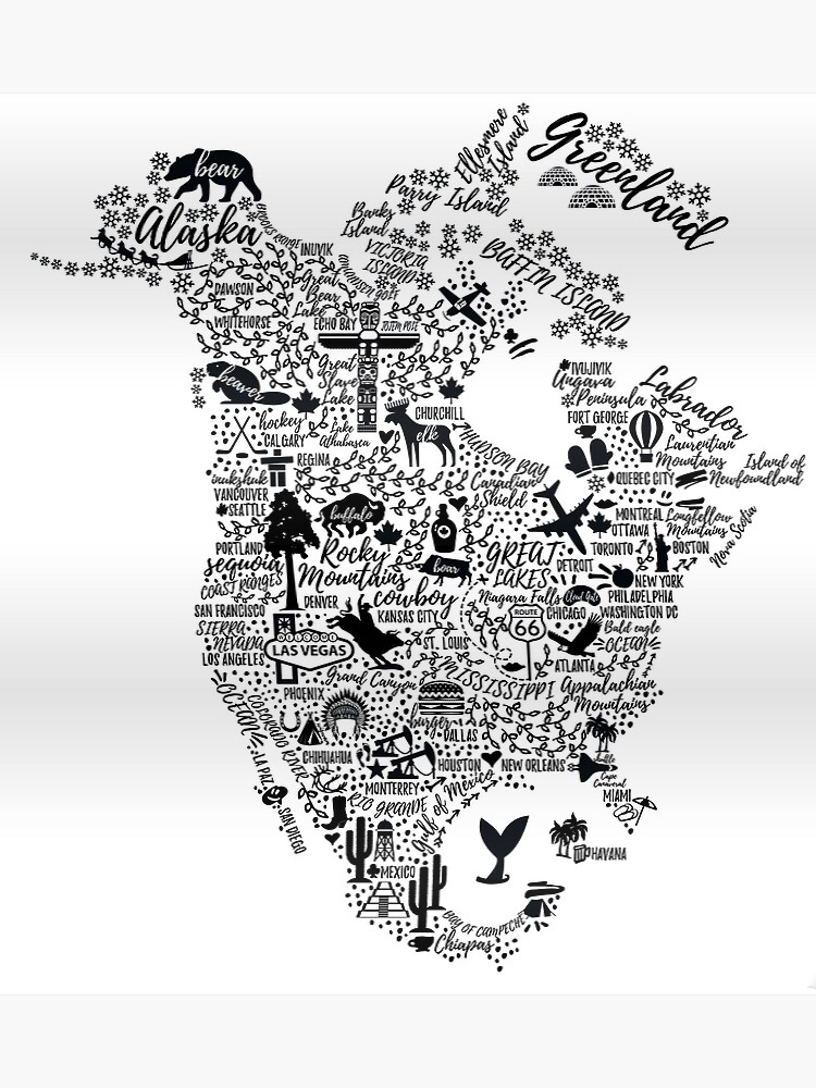 Typography poster. North America map. North America travel guide.   Poster