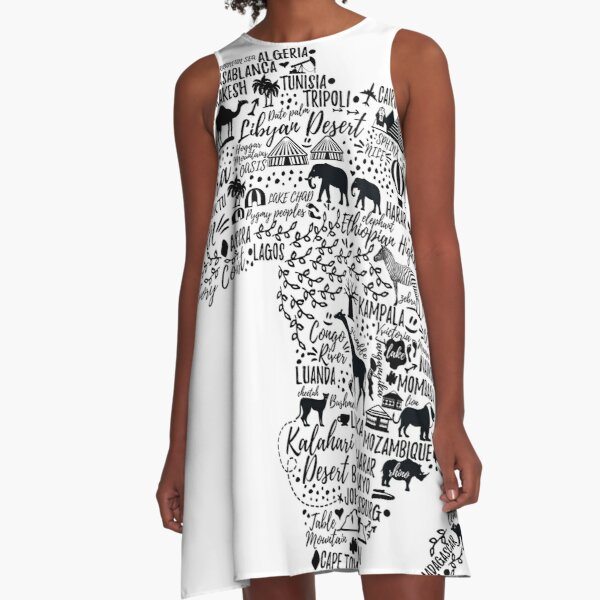 Typography poster. Africa map.  A-Line Dress