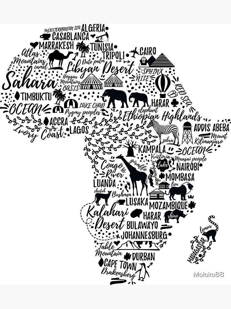 Typography poster. Africa map.  by Moloko88