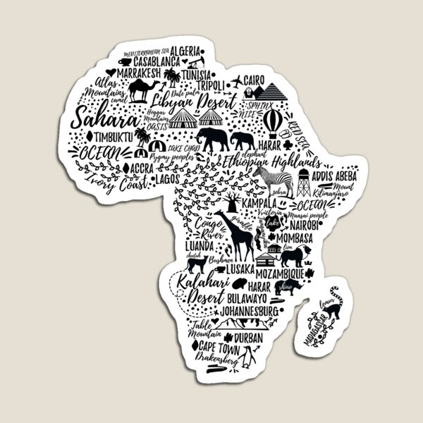 Typography poster. Africa map.  Magnet