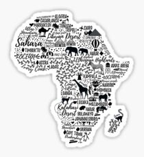 Typography poster. Africa map.  Sticker