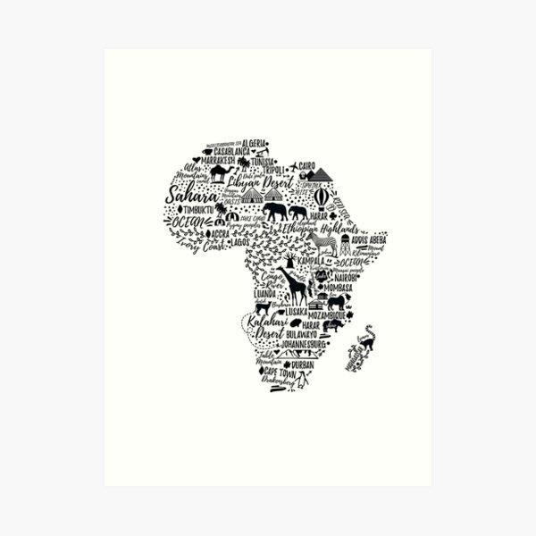 Typography poster. Africa map.  Art Print
