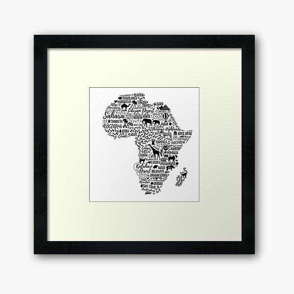 Affiche de typographie. Carte de l'Afrique. Impression encadrée