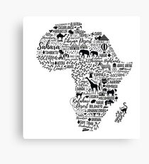 Typography poster. Africa map.  Canvas Print