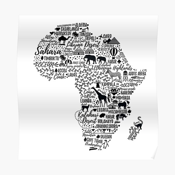 Typography poster. Africa map.  Poster