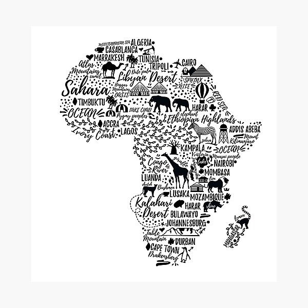 Typography poster. Africa map.  Photographic Print