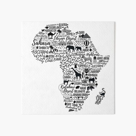 Typography poster. Africa map.  Art Board Print