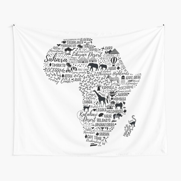 Typography poster. Africa map.  Tapestry