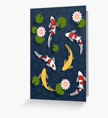 Japanese Koi Fish Pond Greeting Card