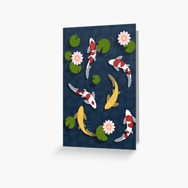 Japanese Koi Fish Pond Greeting Card