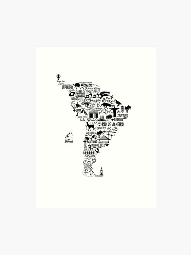 graphic regarding South America Map Printable titled Typography poster. South The united states map. Artwork Print