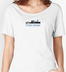 York Harbor Beach. Women's Relaxed Fit T-Shirt