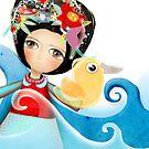 Frida Surfing Ducks Waves Swirls by rupydetequila