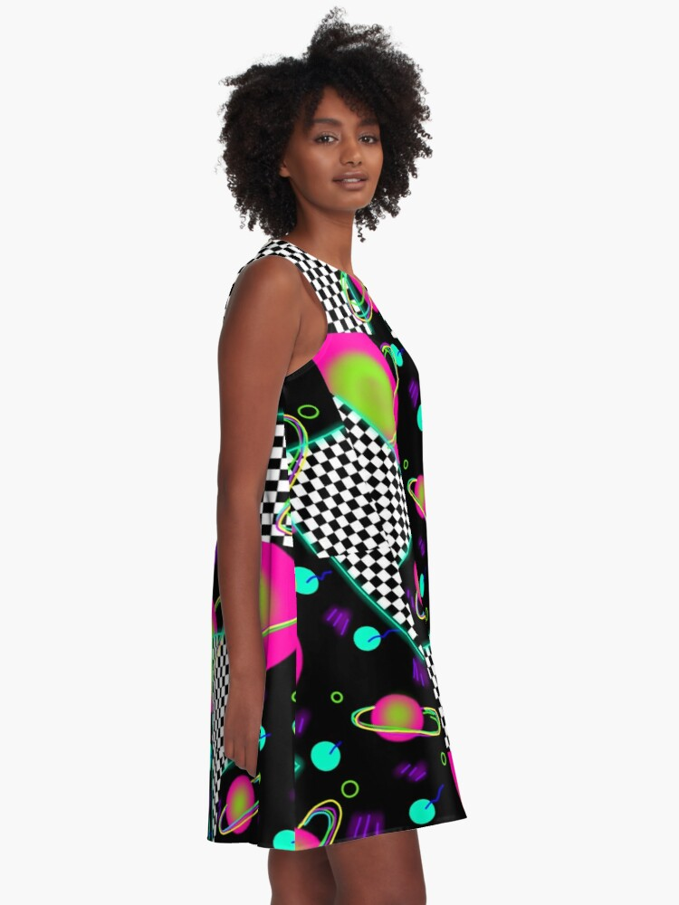 Alternate view of trippy neon 80's space party - planets and space globs A-Line Dress