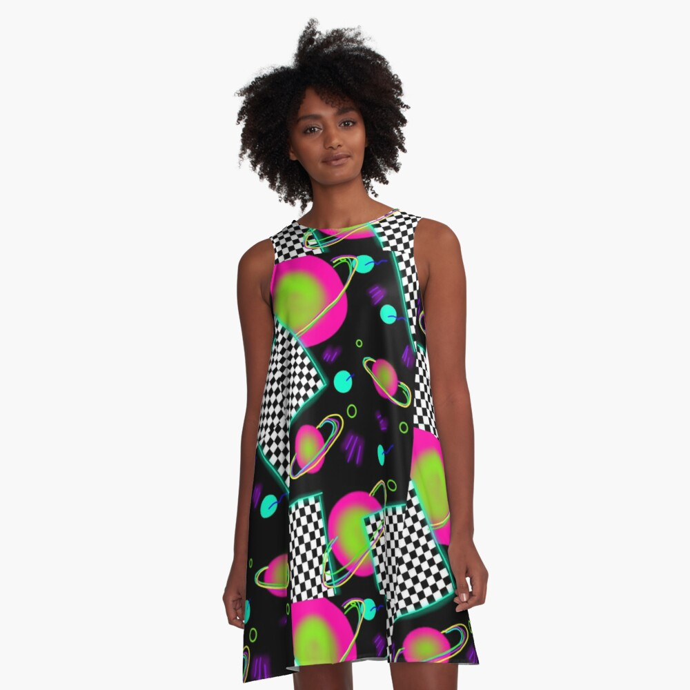 trippy neon 80's space party - planets and space globs A-Line Dress