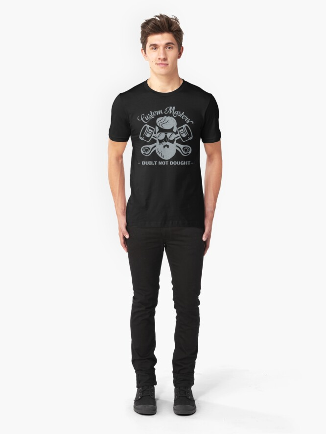 Alternate view of Gray Custom Masters Built Not Bought Slim Fit T-Shirt