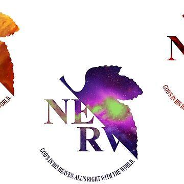 Space Genesis Evangelion || Nerv Logo (Sticker Set) by fullmetaltitan