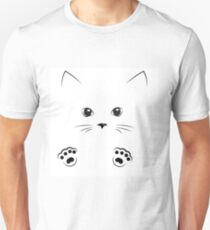 black outline drawing cat face with paws Unisex T-Shirt