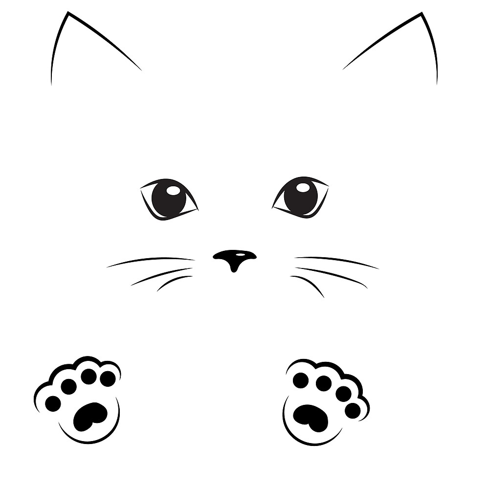 Line Drawing Of A Cat Face : Cat face outline pixshark images galleries