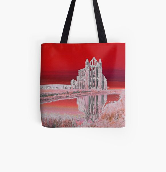 Whitby Abbey (Red) All Over Print Tote Bag