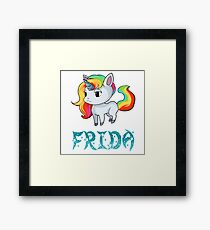 Frida Unicorn Sticker Gerahmtes Wandbild