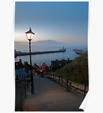 Whitby from the Abbey Steps at Sunset Poster