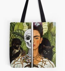 Frida Kahlo - Self Portrait (1940) Skeleton Version Tote Bag