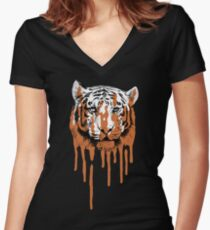 Melting Tiger Women's Fitted V-Neck T-Shirt