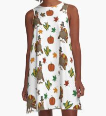 Thanksgiving Turkey pattern A-Line Dress