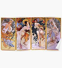 'The Four Seasons' by Alphonse Mucha (Reproduction) Poster