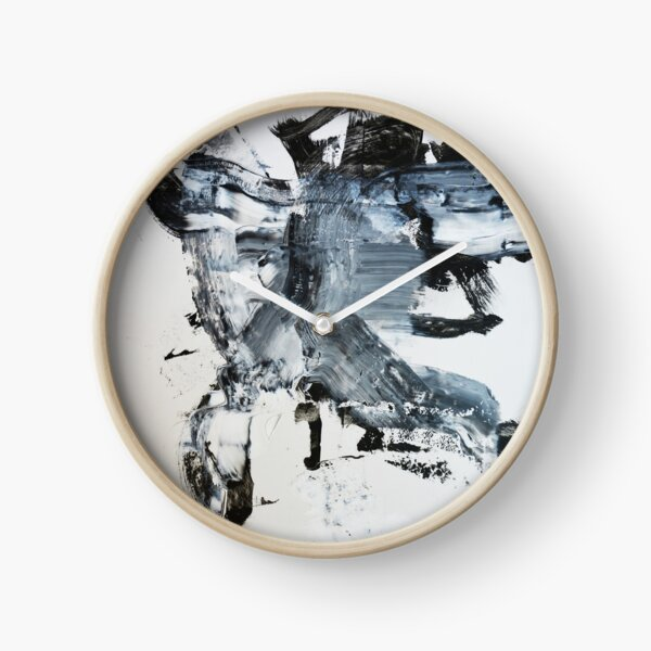 Black and white abstract modern painting print Clock