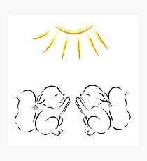 drawing of two squirrels pulls legs to the sun Photographic Print