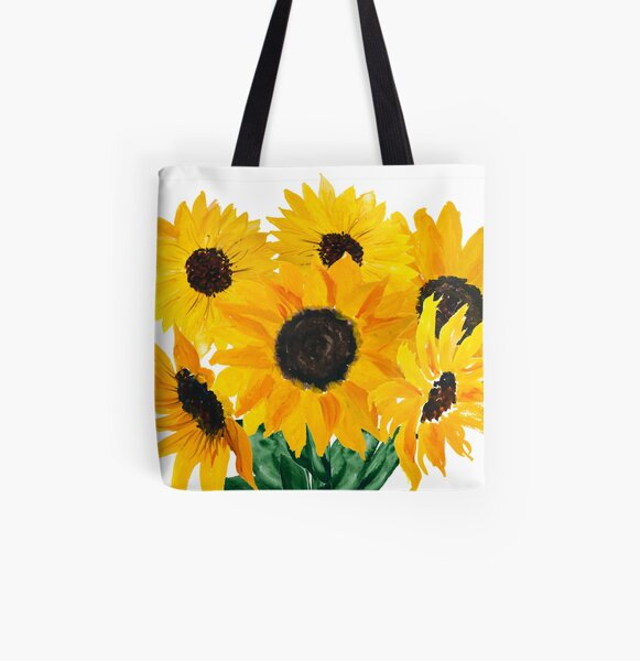 Painted sunflower bouquet All Over Print Tote Bag