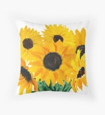 Painted sunflower bouquet Throw Pillow