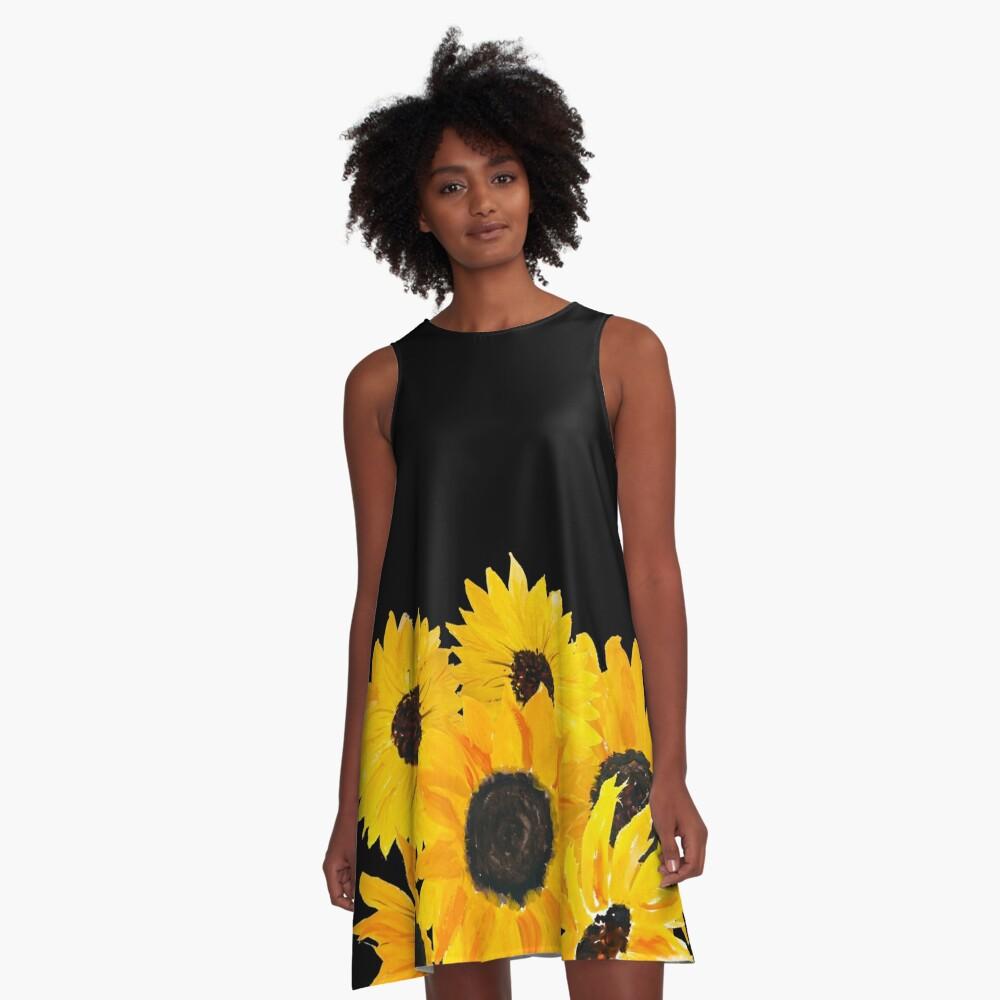 Painted sunflower bouquet A-Line Dress